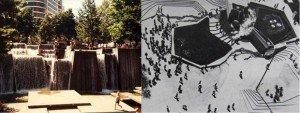 La fontaine Ira Keller par Angela Danadjieva, designer chez Lawrence Halprin & Associates, Ville de Portland, Oregon Le Lovejoy Fountain Park (ou Lovejoy Plaza), par le paysagiste Lawrence Halprin, Portland, Oregon