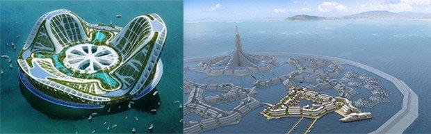 Lilypad ©Vincent Callebaut Le projet de villes flottantes échappant à la souveraineté des Etats défendu par le Seasteading Institute ©DeltaSync
