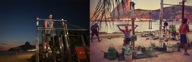 Le « mobilier » disposé le long d'Ipanema ne permet d'utiliser que le poids du corps © Divulgacao Les machines de Flamingo dérivent du Street Workout puisque des poids y sont suspendus © TravelDeeper