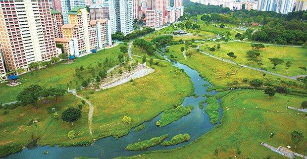 Renaturalisation de la rivière Kallang dans le Bishan Park de Singapour ©pub.gov.sg