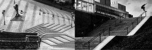 Le skateur Stéphane Giret sur la place de l'Hôtel de Ville de Lyon © Fred Mortagne Une figure de skate sur une rampe d'escalier