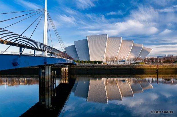 Le Clyde Auditorium se situe le long de la rivière Clyde, à Glasgow. © Darby Sawchuk