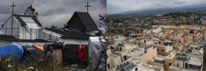 """La construction d'une église à Calais signe le rallongement temporel du """"transit"""". A droite, le camp de Nahr-al-Bared fut reconstruit et intégré au tissu urbain."""
