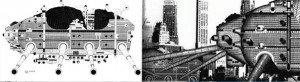 """Le projet The Walking City illustre l'idée d'une ville nomade, composée de modules articulés et """"auto-mobiles"""""""