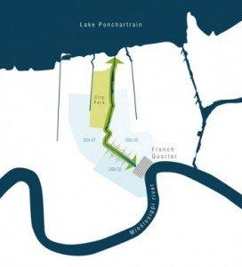 Schéma de principe de l'évacuation des eaux de crue du Mississippi vers le lac Pontchartrain