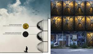 Abris Furtifs par Stéphane Malka : coupe de projet et installation temporaire sur le mur de soutènement de la voie ferrée, le long de la Friche de la Belle de Mai à Marseille