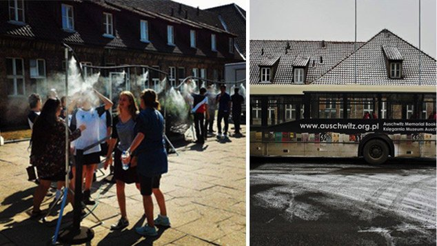 Des douches censées rafraichir les touristes on fait polémique à Auschwitz. Les cars charrient inlassablement les touristes de la mémoire, transformant les camps en « produits d'appel ».
