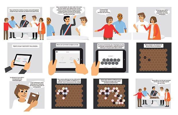 La méthode imaginée par Camille Morin mêle application numérique, jeu de plateau, apports méthodologiques et rencontres physiques avec les usagers. © Camille Morin