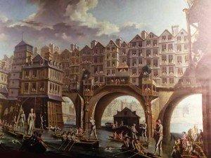La Joute des mariniers entre le Pont-Notre-Dame et le Pont-au-Change par Raguenet montre une vision de Paris et de ses ponts habités