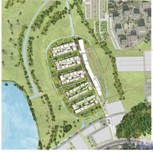 Plan masse du secteur baptise l ile au coeur de l ecoquartier en chantier a Ostwald