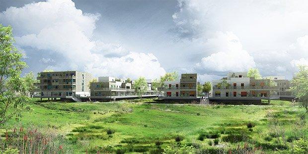 Cinq plateformes de maisons et de petits immeubles collectifs au milieu d une prairie inondable.