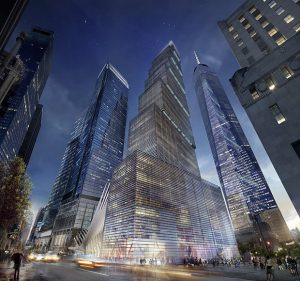 Vue du Two World Center (WTC2) en projet à côté du One World Trade Center (WTC1)