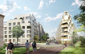 Vue des logements, de la résidence étudiante et de la voie nouvelle ® Myluckypixel - Fresh Architectures - AHA - COBE