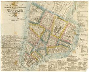Plan de Manhattan montrant le plan grille établi par les membres de la Commission en 1811.