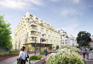 Vue de la residence etudiante et des logements  depuis la rue des Blains ® Myluckypixel - COBE - AHA - Fresh Architecture