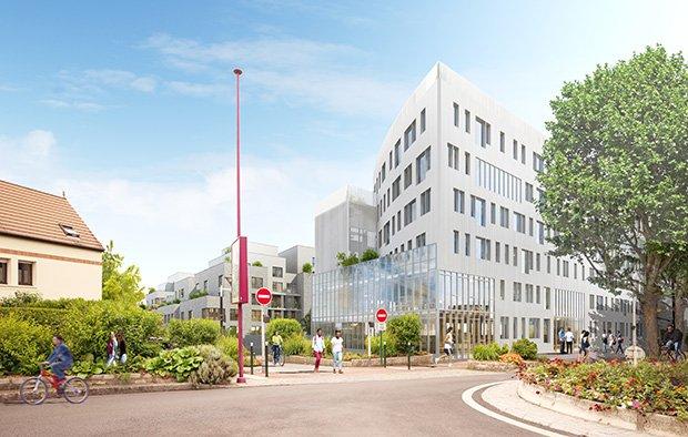 Vue de l'immeuble de bureaux et de l'immeuble de logements depuis l'avenue Paul-Vaillant-Couturier