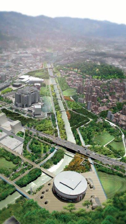 Vue projetee de la premiere tranche du parc realisee apres renovation urbaine des abords