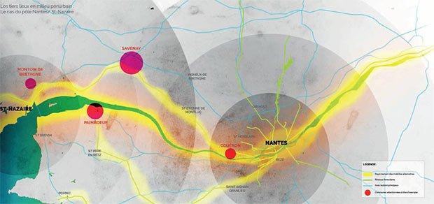 Cartographie permettant l'identification des flux et des potentiels de lieux sur le territoire du pôle métropolitain entre Nantes et Saint-Nazaire
