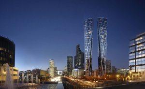 Vue des deux tours formant le projet Hermitage Plaza