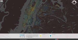 Le HubCab est une carte interactive mise en place par le MIT.