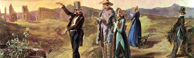 La notion et l'acte de faire du tourisme s'inspirent de la pratique accrue du Grand Tour par les élites au cours du XVIIIème siècle.