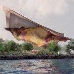 Projet de Pavillon Hermès : la structure est mobile et semble flotter au dessus des arbres comme un carré Hermès