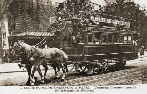 Photo d un tramway a traction animale