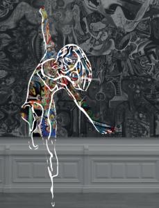 Une peinture d'un corps d'une femme en mouvement