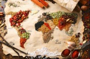 Toutes les épices sont diposées sous forme de carte du monde