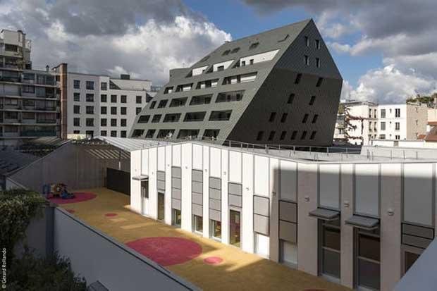 La RATP a créé des logements au -dessus d'un centre de bus.