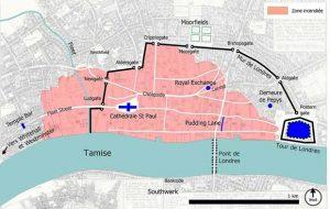 Le grand incendie de 1666 a durement frappé lle quartier d'affaires de la City à Londres.