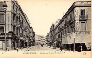 Vue historique du boulevard Jeu de Paume de Montpellier au XIXe siècle
