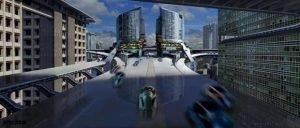 Une représentation de cité futuriste dans le film Minority Report