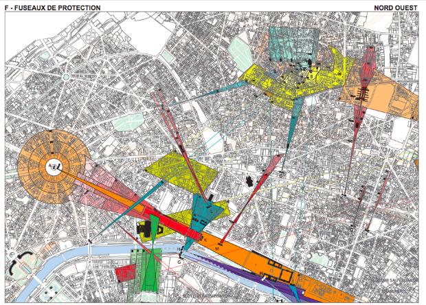 Plan des fuseaux de protection du quart nord-est parisien