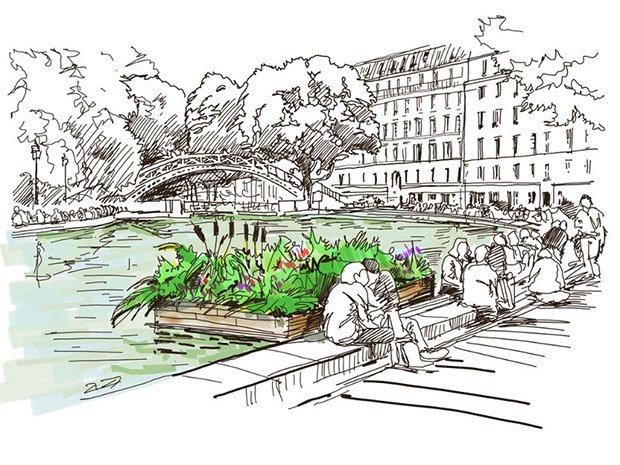 illustration des radeaux vegetalises pour limiter la pollution